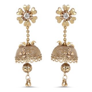 Liliana Bella Goldplated Floral Jhumki Earrings With White And Yellow Crystal
