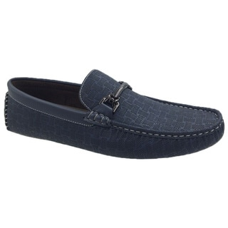 Mecca Men's Navy Faux-leather Slip-on Loafer Driver Shoes