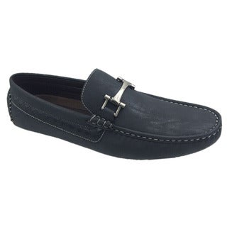 Mecca Men's Slip-on Loafer Black Faux Leather Driver Shoes