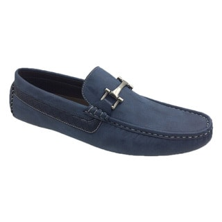 Mecca Men's Navy Blue Faux Leather Slip-on Loafer Driver Shoes