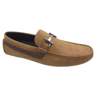 Mecca Men's Tan Faux Leather Slip-on Loafer Driver Shoes