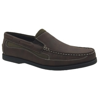 Andrew Fezza Brown Faux-leather Slip-on Loafer Shoes