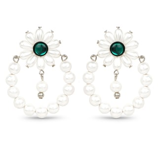 Liliana Bella Green Crystal With Dangling White Pearl Handmade Floral Earrings