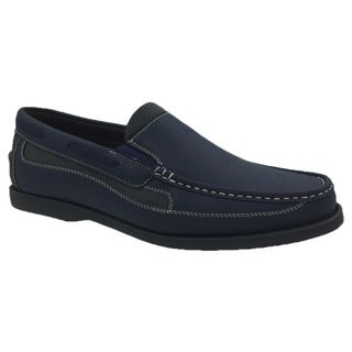 Andrew Fezza Men's Navy Faux Leather Slip-on Loafer Shoes
