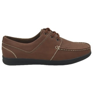 Andrew Fezza Men's Brown Faux Leather Boat Shoes