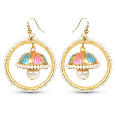 Liliana Bella Goldplated Handmade Enamel Pearl Drop Jhumki Hoop Earrings - White