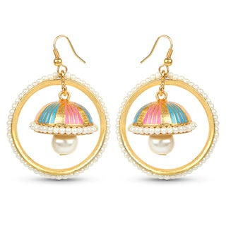 Liliana Bella Goldplated Handmade Enamel Pearl Drop Jhumki Hoop Earrings