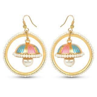 Liliana Bella Goldplated Handmade Enamel Pearl Drop Jhumki Hoop Earrings