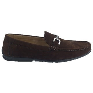 Andrew Fezza Men's Brown Faux Leather Slip-on Loafer Driver Shoes