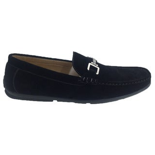 Andrew Fezza Men's Black Faux Leather Slip-on Loafer Driver Shoes