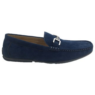 Andrew Fezza Men's Navy Faux-leather Slip-on Loafer Driver Shoes