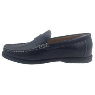 Andrew Fezza Men's Black Faux Leather Slip-on Loafer Shoes