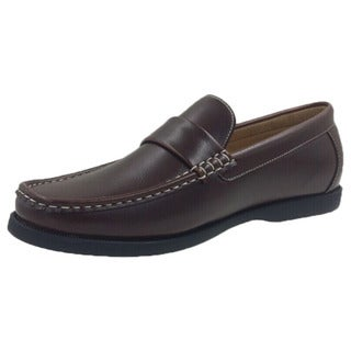 Andrew Fezza Brown Faux Leather Slip-on Loafer Shoes