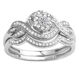 10k White Gold 3/8 Round Diamond Bridal Band Set (H-I, I1-I2)