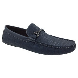 Andrew Fezza Blue Faux Leather Slip-on Loafer Driver Shoes