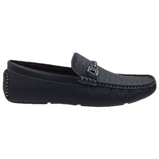 Andrew Fezza Men's Black Slip-on Loafer Driving Shoes