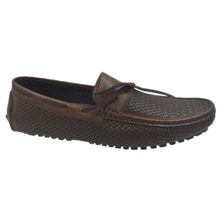 Andrew Fezza Men's Brown Faux Leather Lace Slip-on Loafer Driver Shoes
