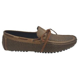 Andrew Fezza Brown Faux-leather Lace Slip-on Loafer Driver Shoes