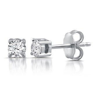 Sterling Silver 1/5ct TDW White Diamond Stud Earrings (I-J, I2-I3)