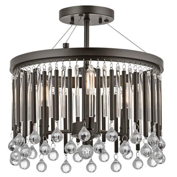 Kichler Lighting Piper Collection 3 Light Espresso Semi Flush Mount