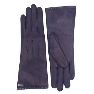 Coach Women's Purple Leather Logo Gloves