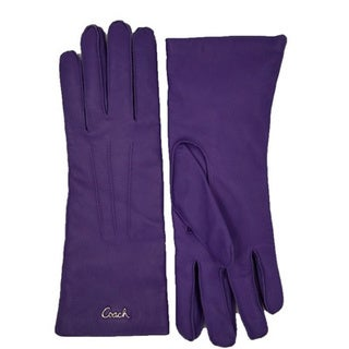 Women's Coach Purple Leather Cashmere Logo Gloves