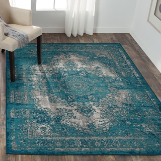 Nourison Aria Teal Area Rug (5'3 x 7'3)