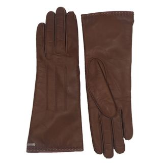 Coach Brown Leather Logo Gloves