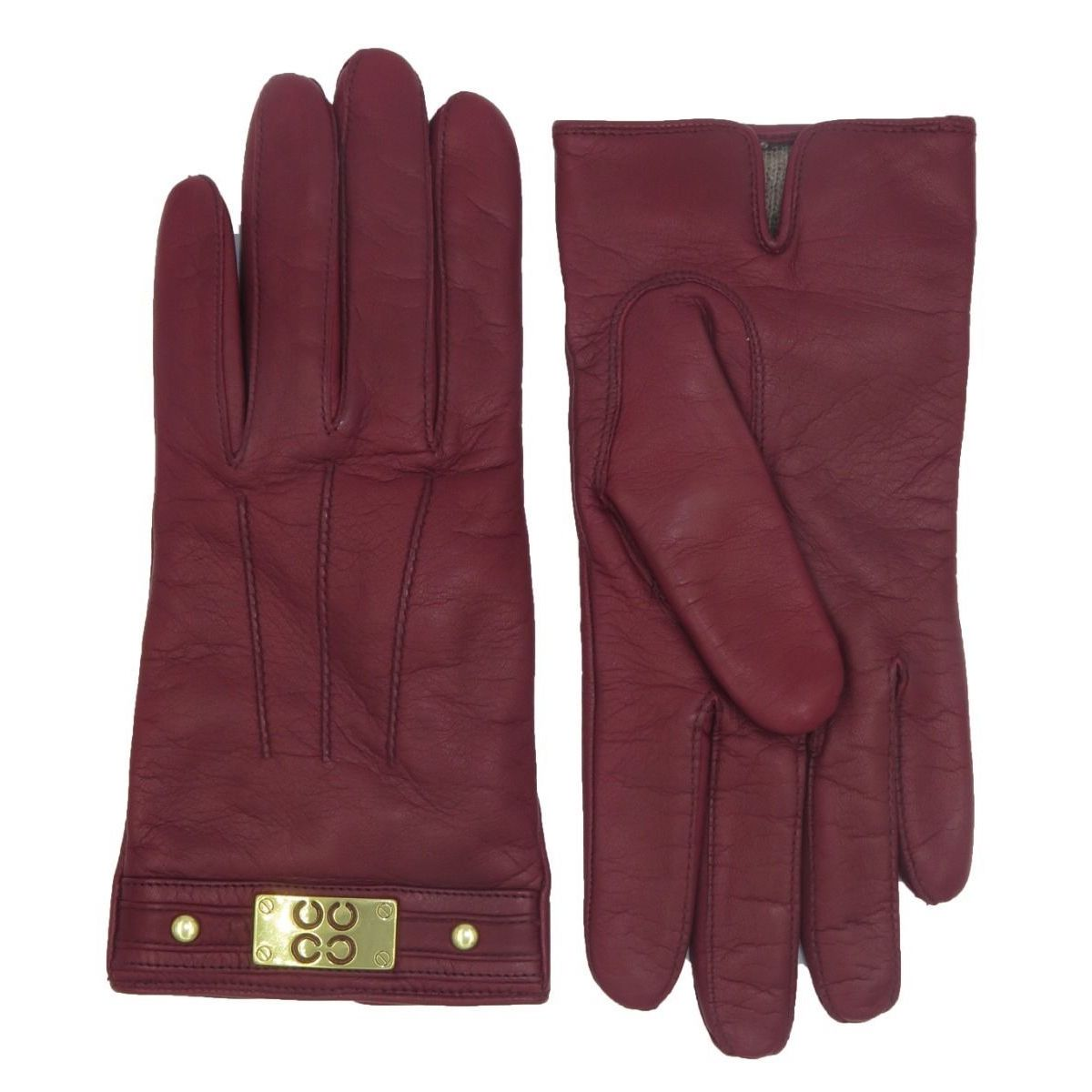 Coach Women's Red Leather Logo Gloves (6.5), Size: Small