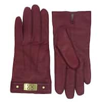 Coach Women's Red Leather Logo Gloves