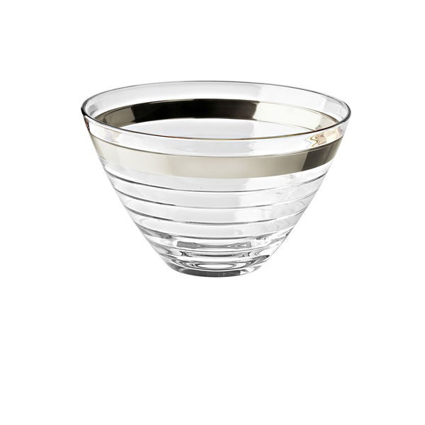 Majestic Gifts Clear Platinum Band Glass Bowl