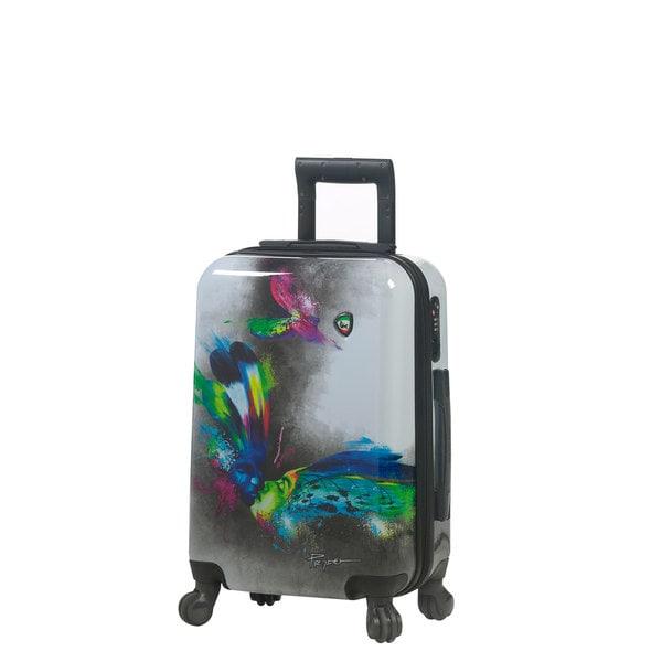 21c75de4c Mia Toro ITALY Prado Butterfly Kiss 20-inch Fashion Hardside Carry On  Spinner Suitcase