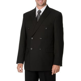 Caravelli Italy Men's Black Double Breasted Suit 48L/ 43W Size in Black (As Is Item)