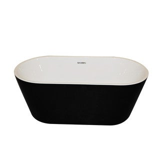 ANZZI Dualita 5.8-foot Glossy Black Acrylic Center Drain Freestanding Bathtub