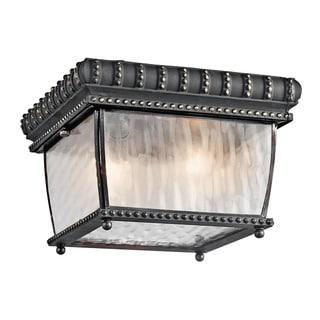 Kichler Lighting Venetian Rain Collection 2-light Black Outdoor Flush Mount