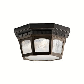 Kichler Lighting Courtyard Collection 3-light Rubbed Bronze Outdoor Flush Mount