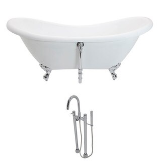 ANZZI Aegis 5.7-foot White Acrylic Double Slipper Clawfoot Non-Whirlpool Bathtub with Polished Chrome Sol Faucet