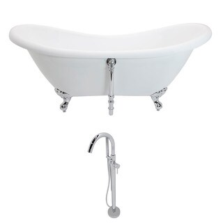 ANZZI Aegis 5.7 ft. Acrylic Double Slipper Clawfoot Non-Whirlpool Bathtub in White and Kros Series Faucet in Polished Chrome