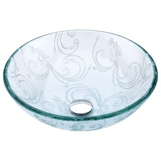 ANZZI Vieno Series Vessel Sink with Pop-Up Drain in Crystal Clear Floral