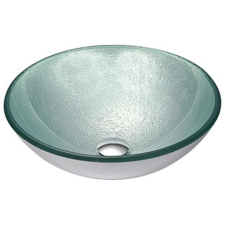 ANZZI Spirito Series Deco-Glass Vessel Sink in Churning Silver