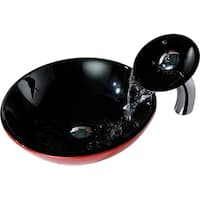 ANZZI Chord Series Deco-Glass Vessel Sink in Lustrous Black and Red with Matching Chrome Waterfall Faucet