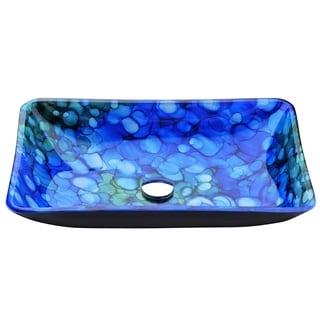 ANZZI Voce Series Deco-Glass Blue Vessel Sink