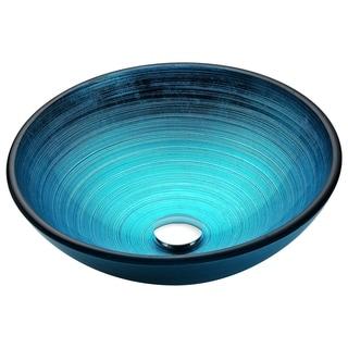 ANZZI Enti Series Deco-Glass Blue Vessel Sink