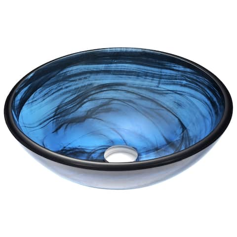 ANZZI Soave Series Deco-Glass Vessel Sink in Sapphire Wisp
