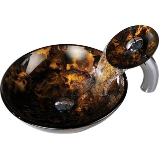 ANZZI Timbre Series Deco-Glass Vessel Sink in Kindled Amber with Matching Chrome Waterfall Faucet