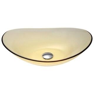 ANZZI Mesto Series Deco-Glass Translucent Gold Vessel Sink