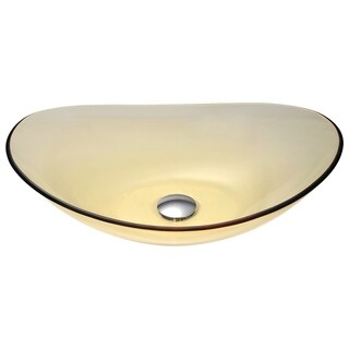 ANZZI Mesto Series Deco-Glass Translucent Gold Vessel Sink
