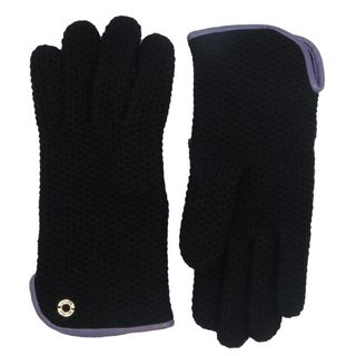 Coach Women's Black Leather Merino Wool Knit Gloves