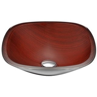 ANZZI Cansa Series Deco-Glass Vessel Sink in Rich Timber
