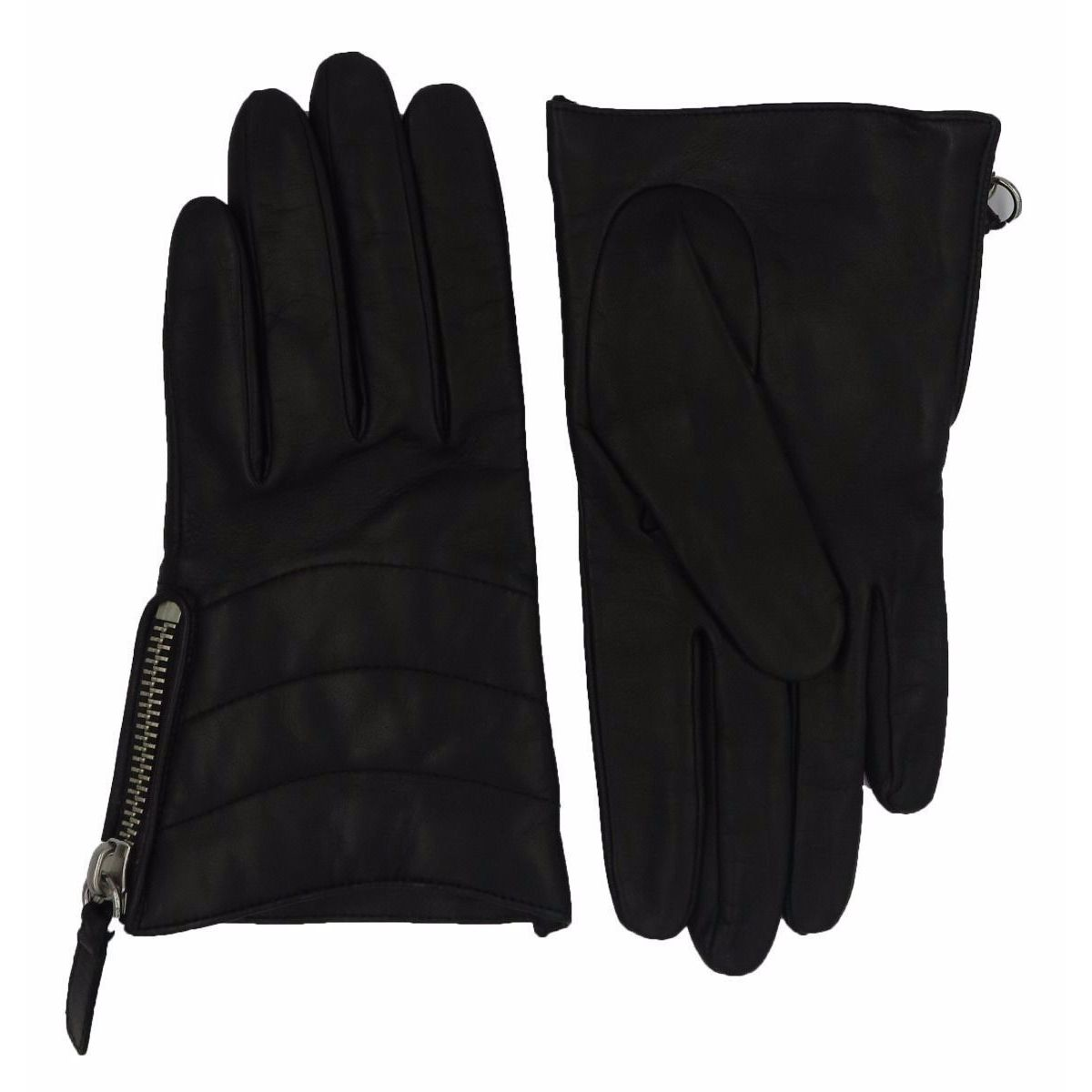 Coach Black Leather Quilted Zippered Gloves (7), Women's,...